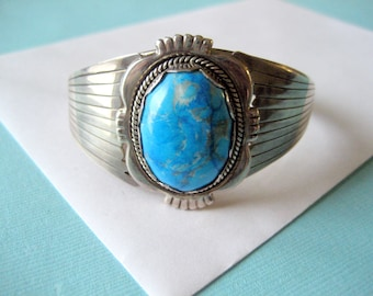 SALE..Navajo Sterling Silver and Turquoise Overlay Cuff