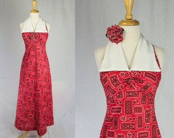 Vintage 1970's Maxi Dress Red Bandanna Print Halter with Wide White Collar