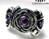 Dark Silver Rose Moon Spider Ring Gothic Amethyst Cabochon Flower Promise Band Size 5.25