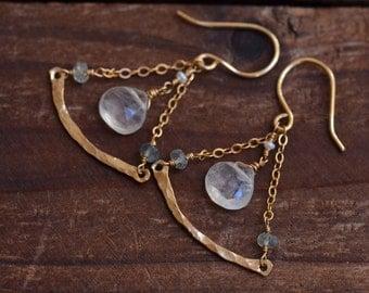 14kt Gold Moonstone Dangle Earrings - Moss Aquamarine Earrings - Gold Curve Bar Earrings -Dainty Gold Chain Earrings -Gold Triangle Earrings