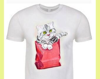 Surprise Cat Shirt Cat kitty cat tee Tees T-shirt T shirt Cat t shirt Cat t-shirt Striped cat Cat Illustration White T-shirt