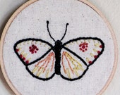 hand embroidered hoop art, trio of embroidered butterflies, nature theme wall decor, butterfly home decor