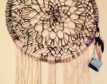 Black and White Large Dreamcatcher 20X29 inches Crocheted Mandala