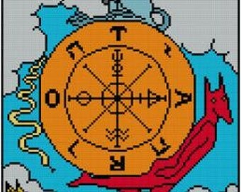 Wheel of Fortune Tarot Card cross stitch pattern PDF Major Arcana