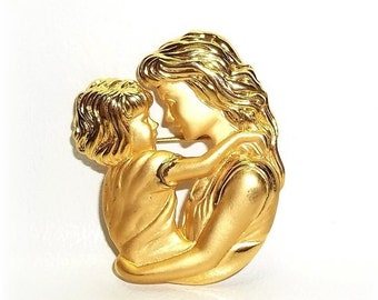 Mother Daughter JJ pin vintage Jonette brooch gold tone