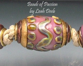BHB Glass Beads of Passion Leah Deeb - 3pc Earthy Pink Tribal Big Hole Capped Set