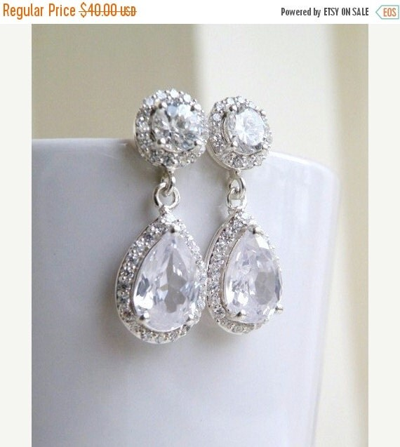 27% Off Sale Bridal Earrings Pear CZ Teardrop Silver Post Stud CNEP2