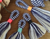 DIY Tassel Making Kit.  Make your own large or mini tassels with white and navy cotton rope and waxed neon twine. Block colour tassels