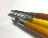 Bezel Brunishing tool set for smoothing bezel over set stones - roller, curve, streight