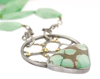 Lichen Tibetan Turquoise Focal Centerpiece Necklace