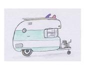 Surfy Caravan Campervan watercolour print