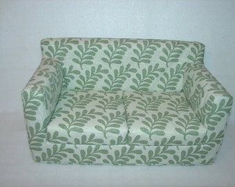 Christmas Sale......10% off-----18 inch Sage Green Ferns Sofa - Modern Handmade Doll Furniture