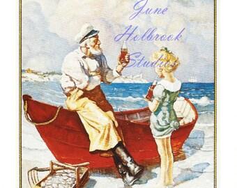 Digital Download Vintage PostCard and Calendar Images Boat Sailor Girl Drinking Coca Cola 0015