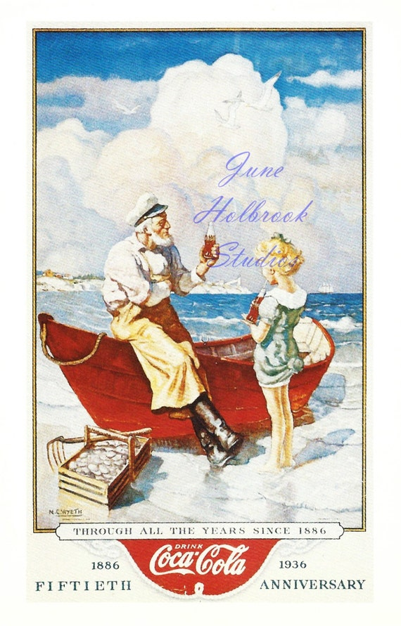 Digital Download Vintage PostCard and Calendar Images Boat Sailor Girl Drinking Coca Cola 0015