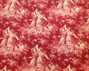 2 Yards of Vintage Red and White Toile Fabric