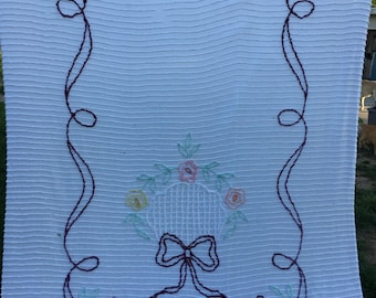 Vintage White with Purple, Yellow and Green Flowers and Bows Cutter Chenille Bedspread