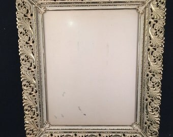 Vintage Ornate Gold and White Metal 8 x 10 Picture Frame
