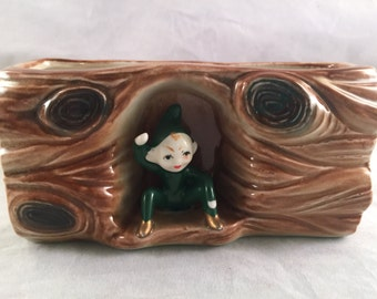 Vintage Brown and Green Pixie Elf Planter