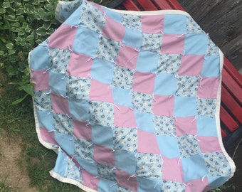Vintage Hand Tied Patchwork Pink and Blue Polyester/Double Knit Lap Quilt/Baby Quilt