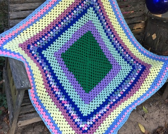 Vintage Hand Crochet Colorful Square in Square Afghan/Lap Throw
