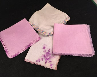 Set of 4 Vintage Purple and White Ladies' Hankies (Various Styles and Sizes)