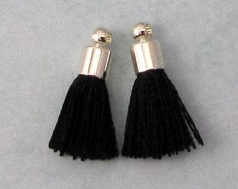 Tiny Silky Tassel Charm, Black, Silver Cap, 17 MM, 2 Pieces, AS386