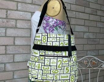 Black-Green-Authentic Numbers-Canvas-Handbag -adjustable-Messenger -Shoulder Bag-BagZGirl