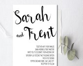 Wedding Invitations, Watercolor, Black and white wedding invitations