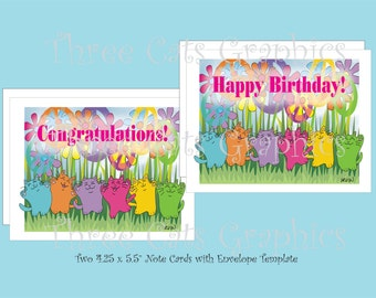 Flower Power Peace Cats - Happy Birthday! & Congratulations! 2 Note Cards with Envelope Template - Instant Download
