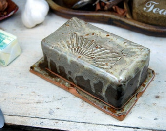 Covered Butter Dish in Brownstone with Sun Texture - Made to Order