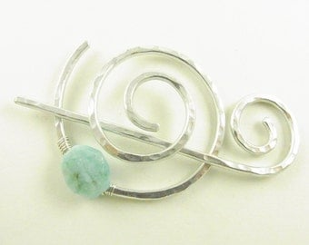 Hammered Shawl Pin Spiral with Genuine Amazonite