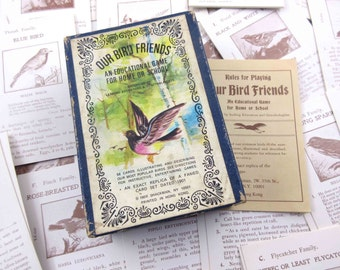 Vintage Our Bird Friends Children's Playing Cards Replica of 1901 Set by Shackman, NY Set of 56