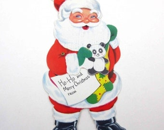 Vintage Unused Mechanical Christmas Greeting Card with Cute Santa Claus Stocking Panda Bear