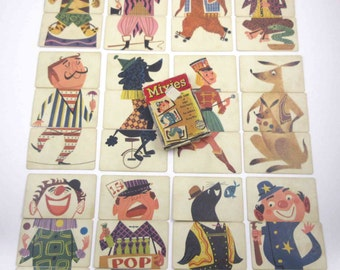 Vintage 1950s Mixies Circus Themed Children's Playing Cards in Original Box Full Deck of 36 Includes Clown