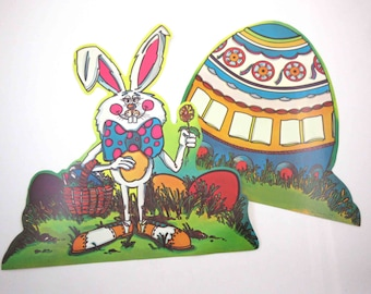 Vintage 1970s Die Cut Cardboard Easter Decoration with Rabbit and Easter Egg