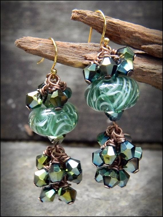 Green Wirewrapped & Lampworked Drop Earrings