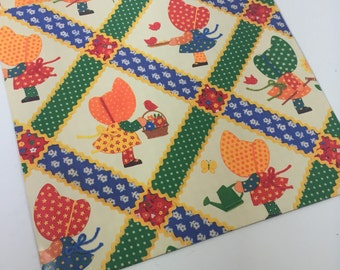 vintage wrapping paper Sunbonnet girls, 1 sheet, vintage Hallmark gift wrap,