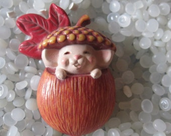 Vintage Hallmark  Mouse in an Acorn lapel pin brooch