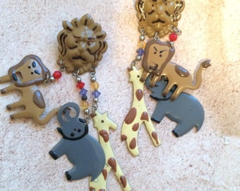 LIONESS LION  elephant giraffe post  earring jungle animal femme  wild species africa african amazon amazonian astrology sign dangle ritz