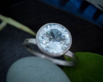Aquamarine and  White Gold Engagement Ring, March Birthstone Ring in Palladium and White gold, Right Hand Or Solitaire Engagement Ring,