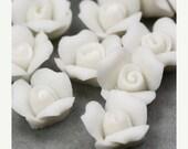 35% off Shop Closing Sale Rose Flower Cabochons Ceramic 11mm White (4) cc001