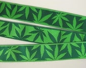 2 yards CANNABLISS Reversible Jacquard trim. Green on green. Reversible trim. Super design. 7/8 inch wide. 2027-A