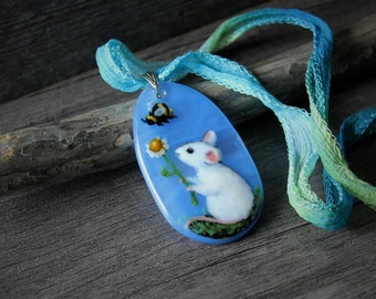 Mouse in the garden Necklace, fused glass pendant, bee friends