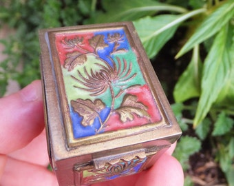 Small Vintage Cloisonne Stamp Box Ring Box Jewelry Box Chinese Brass Cloisonne Box Cloissonne Box Cloissone Box Little Trinket Box