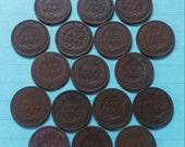 ON SALE Indian Head Penny 1900's 17 Pennies 1900 thru 1907  1 Cent coin collection-numismatic collector F-9