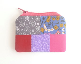 pink red mini zipper pouch. purple grey patchwork flash drive small jewelry pouch earbud pouch holder. pill safety pin. party favor girl