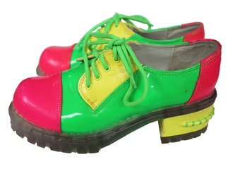 90s Neon Green Chunky Platforms Size 7 Hot Pink Yellow Clear Jelly Goth Rave Club Kid Jellies Laces Psychedelic Shoes Elton John Glam Rock