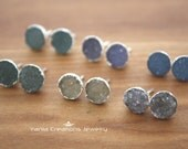 AAA Natural Druzy Round Stud Earrings- Sterling Silver (6 available colors)