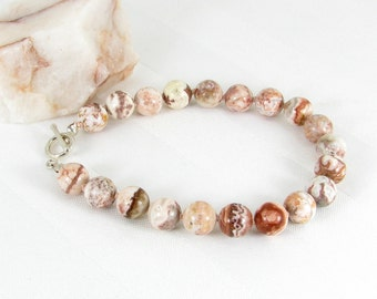 Hand-Knotted Rosetta Agate and Sterling Silver Bracelet