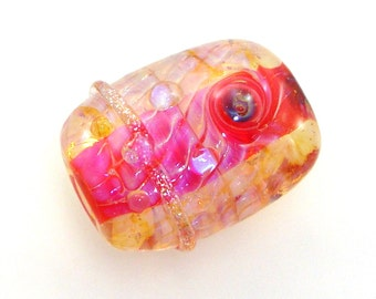 Handmade Lampwork Glass Bead Focal - Crested Butte! Encased silver glass,  hot salmon pink & golden luster, sparkly dichro, bubble dots.